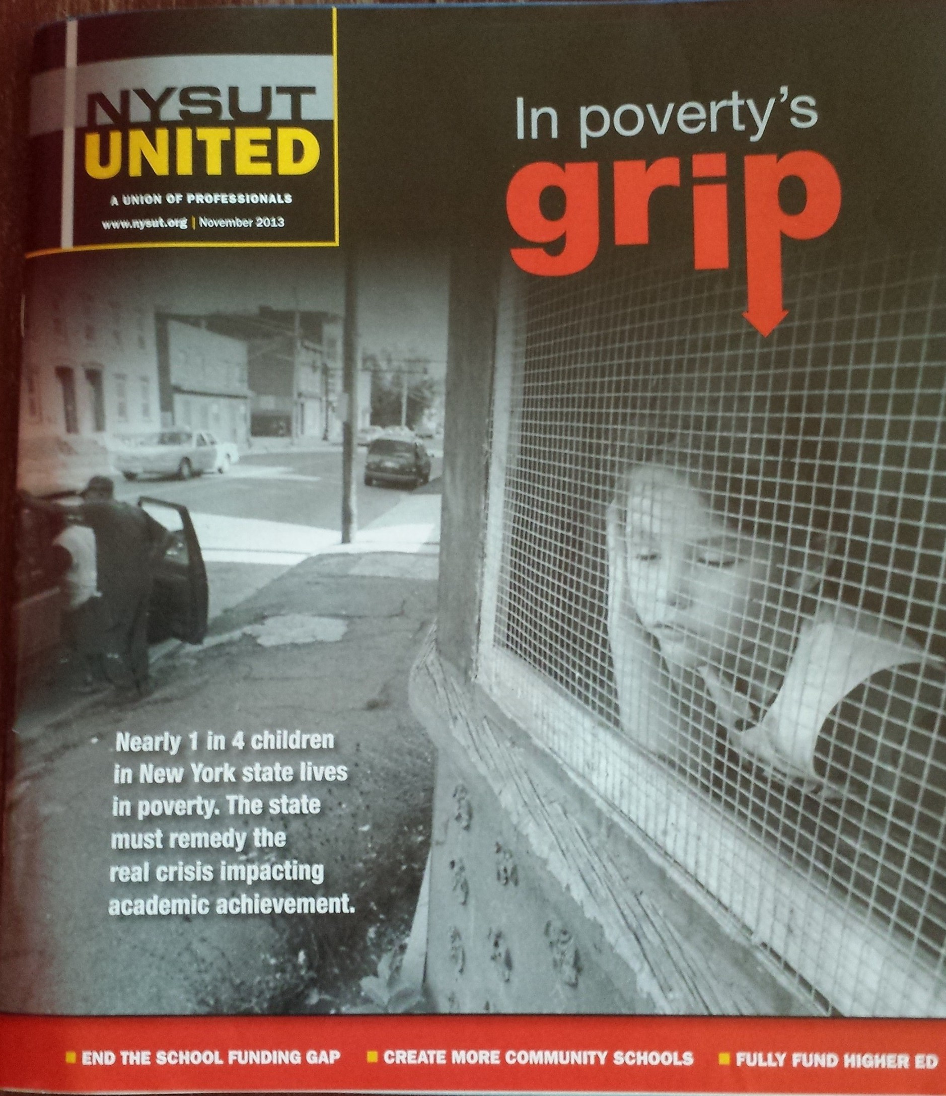 New York Teachers magazine cover with headline article about poverty and hunger affecting our youth.