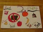 Food2Share cafeteria sign with student drawn images of foods that can and cannot be donated.