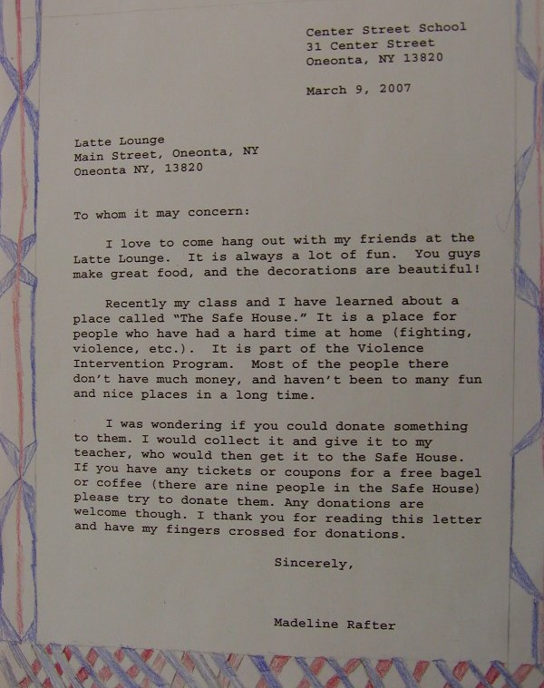 5th Grade Business Letter  Assignment
