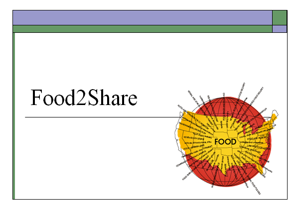 Food2Share graphic: map of US on globe with multiple spurs of related social justice issues.