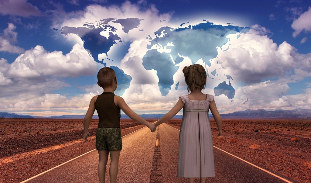 A painting of a young boy and girl holding hands walking away down a highway in a desert setting. Clouds in front of them have the continents outlined within.